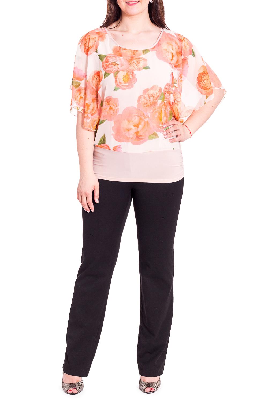 БлузкаБлузки<br>Нарядная блузка с круглой горловиной и рукавами до локтя. Модель выполнена из приятного материала. Отличный выбор для любого случая.В изделии использованы цвета: белый, оранжевый и др.Рост девушки-фотомодели 180 см<br><br>Горловина: С- горловина<br>Рукав: До локтя<br>Материал: Трикотаж,Шифон<br>Рисунок: Растительные мотивы,С принтом,Цветные,Цветочные<br>Сезон: Весна,Всесезон,Зима,Лето,Осень<br>Силуэт: Полуприталенные<br>Стиль: Нарядный стиль,Повседневный стиль<br>Размер : 48,50,52,56<br>Материал: Холодное масло + Шифон<br>Количество в наличии: 4