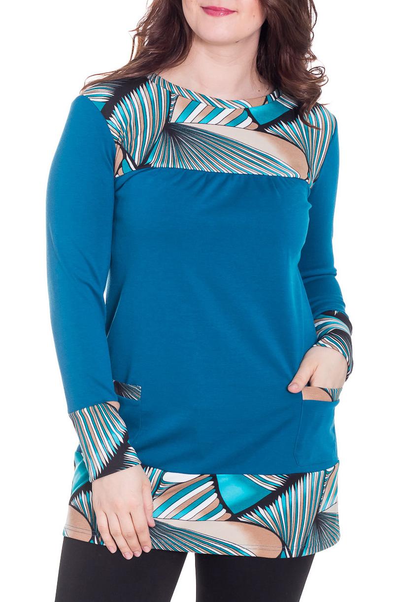 ТуникаТуники<br>Цветная туника с круглой горловиной и длинными рукавами. Модель выполнена из приятного трикотажа. Отличный выбор для повседневного гардероба.  За счет свободного кроя и эластичного материала изделие можно носить во время беременности  Цвет: синий, голубой, белый, бежевый, черный  Рост девушки-фотомодели 180 см<br><br>Горловина: С- горловина<br>По материалу: Вискоза,Трикотаж<br>По рисунку: С принтом,Цветные<br>По силуэту: Свободные<br>По стилю: Повседневный стиль<br>Рукав: Длинный рукав<br>По сезону: Осень,Весна,Зима<br>Размер : 46,48<br>Материал: Джерси<br>Количество в наличии: 2