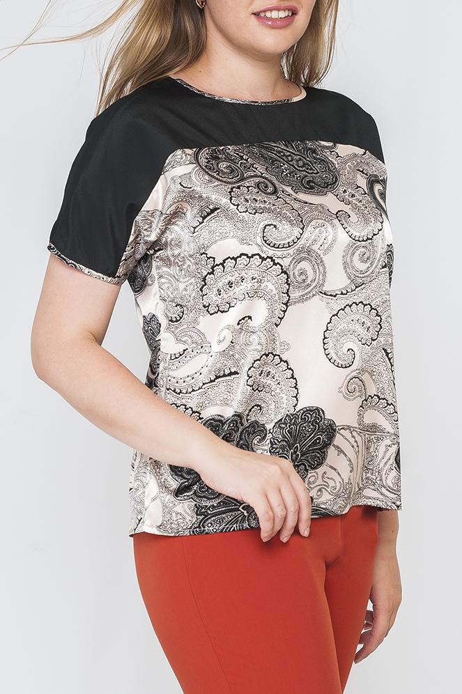 БлузкаБлузки<br>Прекрасная блузка с круглой горловиной и короткими рукавами. Модель выполнена из приятного материала. Отличный выбор для повседневного гардероба.  Параметры изделия:  44 размер: обхват бедер 99 см, длина изделия 62 см;  52 размер: обхват бедер 119 см, длина изделия 64 см.  Цвет: молочный, серый, черный<br><br>Горловина: С- горловина<br>По материалу: Атлас<br>По образу: Город,Свидание<br>По рисунку: С принтом,Цветные,Этнические<br>По сезону: Весна,Зима,Лето,Осень,Всесезон<br>По силуэту: Прямые<br>По стилю: Повседневный стиль<br>Рукав: Короткий рукав<br>Размер : 40,42,44,46,48,50<br>Материал: Атлас<br>Количество в наличии: 7