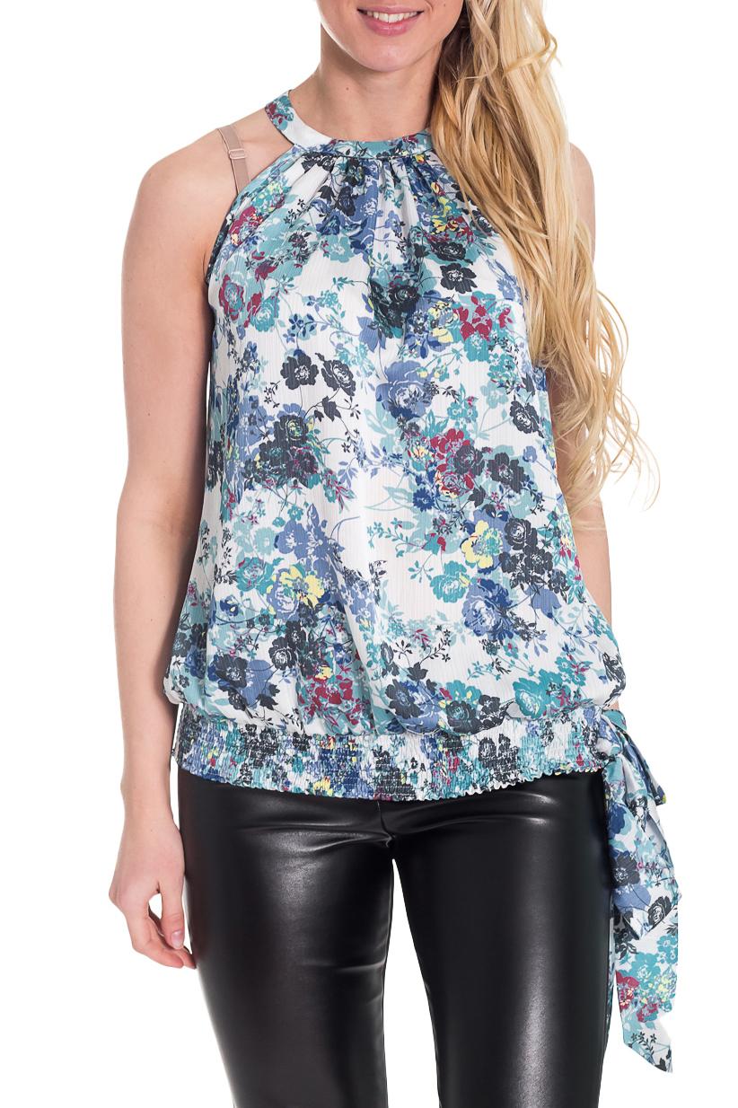 БлузкаБлузки<br>Женственная блузка с открытыми плечами. Модель выполнена из воздушного щифона с цветочным принтом. Отличный выбор для пополнения Вашего гардероба.  Цвет: белый, голубой, сиреневый, серый, розовый  Рост девушки-фотомодели 170 см.<br><br>Горловина: С- горловина,Халтер<br>По материалу: Вискоза,Шифон<br>По рисунку: Растительные мотивы,Цветные,Цветочные,С принтом<br>По сезону: Весна,Всесезон,Зима,Лето,Осень<br>По силуэту: Свободные<br>По стилю: Повседневный стиль,Летний стиль,Романтический стиль<br>По элементам: С открытыми плечами,С декором,Со складками<br>Рукав: Без рукавов<br>Размер : 42<br>Материал: Шифон<br>Количество в наличии: 1