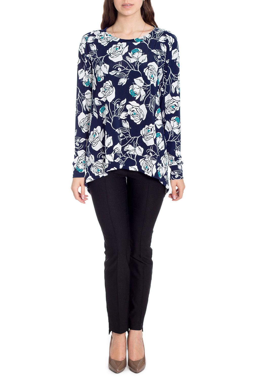 БлузкаБлузки<br>Цветная блузка с фигурным подолом. Модель выполнена из приятного материала. Отличный выбор для любого случая.  В изделии использованы цвета: синий, белый, голубой  Рост девушки-фотомодели 170 см<br><br>Горловина: С- горловина<br>По материалу: Вискоза,Трикотаж<br>По рисунку: Растительные мотивы,С принтом,Цветные,Цветочные<br>По сезону: Весна,Зима,Лето,Осень,Всесезон<br>По силуэту: Прямые<br>По стилю: Повседневный стиль<br>По элементам: С фигурным низом<br>Рукав: Длинный рукав<br>Размер : 44,46,48,50<br>Материал: Холодное масло<br>Количество в наличии: 8