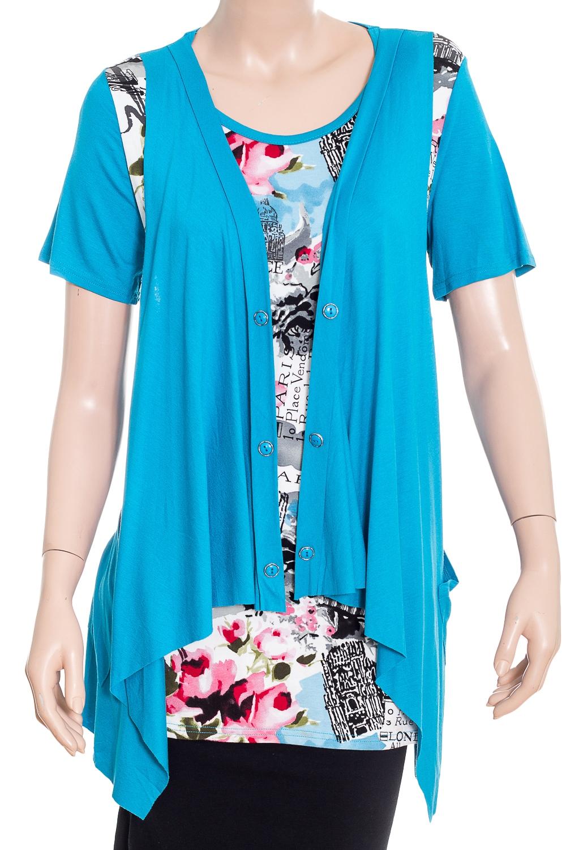 Двойка-обманкаКофты<br>Удлиненная блузка с имитацией жилетки. Модель выполнена из мягкого трикотажа.  В изделии использованы цвета: голубой, белый и др.  Рост девушки-фотомодели 180 см<br><br>Горловина: С- горловина<br>По материалу: Вискоза<br>По рисунку: Растительные мотивы,Цветные,Цветочные<br>По сезону: Весна,Зима,Лето,Осень,Всесезон<br>По силуэту: Приталенные<br>Рукав: Короткий рукав<br>Размер : 50<br>Материал: Вискоза<br>Количество в наличии: 1