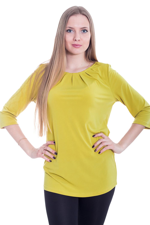 БлузкаБлузки<br>Однотонная женская блузка с круглой горловиной и рукавами 3/4. Модель выполнена из приятной телу ткани. Отличный выбор для повседневного гардероба.  Цвет: светло-салатовый  Рост девушки-фотомодели 170 см.<br><br>Горловина: С- горловина<br>По материалу: Трикотаж<br>По образу: Город,Свидание<br>По рисунку: Однотонные<br>По сезону: Весна,Зима,Лето,Осень,Всесезон<br>По силуэту: Прямые<br>По стилю: Повседневный стиль<br>По элементам: С декором,Со складками<br>Рукав: Рукав три четверти<br>Размер : 44,46,48,50,52<br>Материал: Холодное масло<br>Количество в наличии: 4