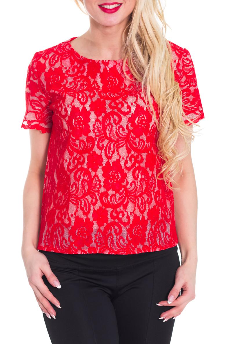 БлузкаБлузки<br>Красивая блузка с круглой горловиной и короткими рукавами. Модель выполнена из ажурного гипюра. Отличный выбор для любого торжества.  Цвет: красный  Рост девушки-фотомодели 170 см.<br><br>Горловина: С- горловина<br>По материалу: Гипюр<br>По рисунку: Однотонные,Фактурный рисунок<br>По сезону: Весна,Всесезон,Зима,Лето,Осень<br>По силуэту: Прямые<br>По стилю: Нарядный стиль,Вечерний стиль<br>Рукав: Короткий рукав<br>Размер : 40-42,44-46<br>Материал: Гипюр<br>Количество в наличии: 2