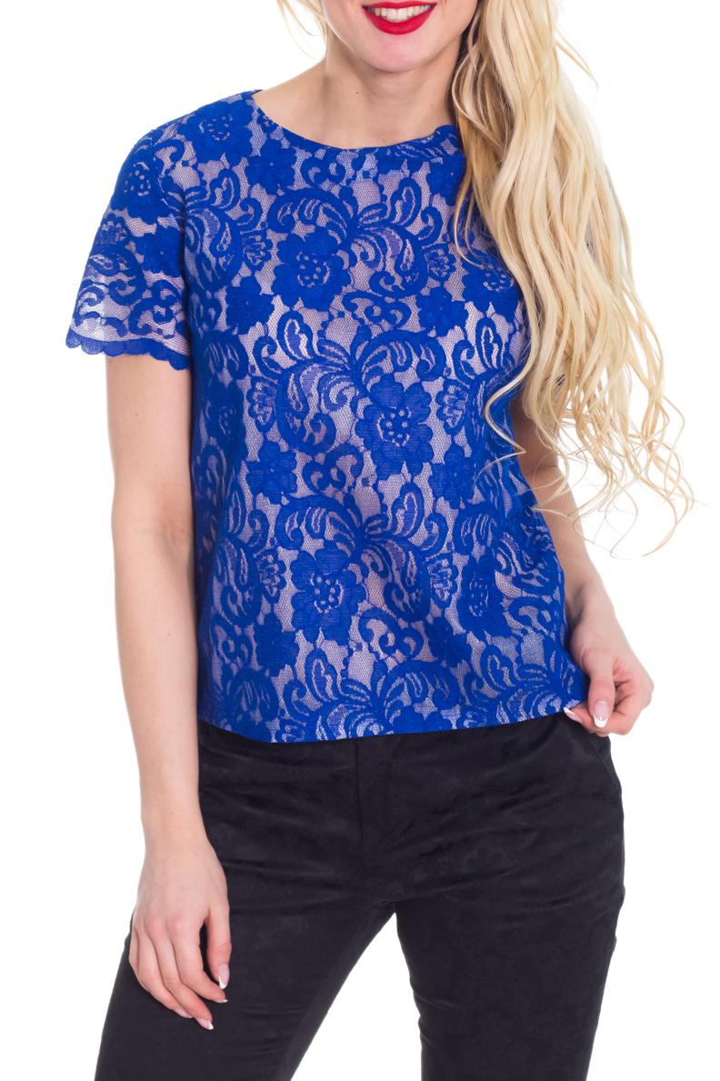 БлузкаБлузки<br>Красивая блузка с круглой горловиной и короткими рукавами. Модель выполнена из ажурного гипюра. Отличный выбор для любого торжества.  Цвет: синий  Рост девушки-фотомодели 170 см.<br><br>Горловина: С- горловина<br>По материалу: Гипюр<br>По образу: Выход в свет,Свидание<br>По рисунку: Однотонные,Фактурный рисунок<br>По сезону: Весна,Всесезон,Зима,Лето,Осень<br>По силуэту: Прямые<br>По стилю: Нарядный стиль<br>Рукав: Короткий рукав<br>Размер : 40-42,44-46,48-50,52-54<br>Материал: Гипюр<br>Количество в наличии: 2