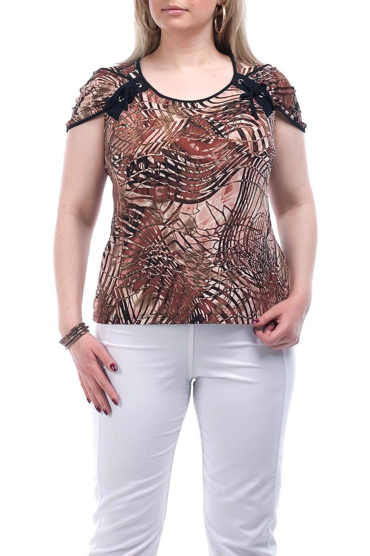 БлузкаБлузки<br>Женская блузка с круглой горловиной и коротким рукавом. Модель выполнена из приятного трикотажа. Отличный выбор для повседневного гардероба.  Цвет: бежевый, коричневый  Рост девушки-фотомодели 173 см<br><br>Горловина: С- горловина<br>По материалу: Вискоза,Трикотаж<br>По образу: Город<br>По рисунку: Цветные,С принтом<br>По сезону: Лето,Весна,Зима,Осень,Всесезон<br>По силуэту: Полуприталенные<br>По элементам: С декором<br>Рукав: Короткий рукав<br>По стилю: Повседневный стиль<br>Размер : 52,54,56,58,60,62,64,66,68<br>Материал: Холодное масло<br>Количество в наличии: 5