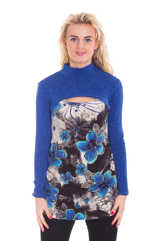 ТуникаТуники<br>Интересная туника с декоративным вырезом на груди и длинными рукавами. Модель выполнена из приятного трикотажа. Отличный выбор для повседневного гардероба.  За счет свободного кроя и эластичного материала изделие можно носить во время беременности  Цвет: синий, голубой, серый, белый  Рост девушки-фотомодели 170 см<br><br>Воротник: Стойка<br>По материалу: Вязаные,Трикотаж,Шерсть<br>По образу: Город,Свидание<br>По рисунку: Растительные мотивы,С принтом,Цветные,Цветочные,Этнические<br>По силуэту: Полуприталенные<br>По стилю: Повседневный стиль<br>По элементам: С вырезом<br>Рукав: Длинный рукав<br>По сезону: Осень,Весна<br>Размер : 42,50<br>Материал: Вязаное полотно<br>Количество в наличии: 1