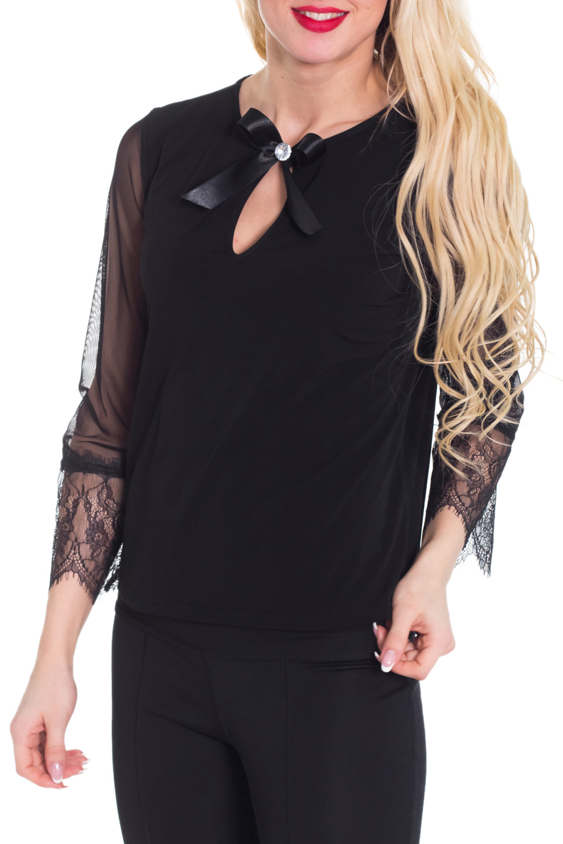 БлузкаБлузки<br>Красивая блузка с декоративным бантиком у горловины. Модель выполнена из приятного трикотажа с рукавами из гипюровой сетки. Отличный выбор для любого случая.  Цвет: черный  Рост девушки-фотомодели 170 см.<br><br>Горловина: С- горловина<br>По материалу: Трикотаж<br>По образу: Выход в свет,Свидание<br>По рисунку: Однотонные<br>По сезону: Весна,Всесезон,Зима,Лето,Осень<br>По силуэту: Прямые<br>По стилю: Нарядный стиль<br>По элементам: С вырезом,С декором<br>Рукав: Рукав три четверти<br>Размер : 40-42,44-46<br>Материал: Холодное масло + Гипюровая сетка<br>Количество в наличии: 2