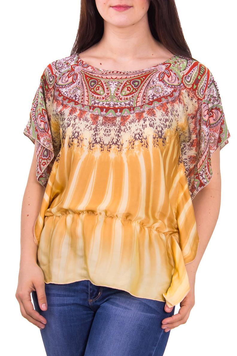 БлузкаБлузки<br>Яркая женская блузка с круглой горловиной и короткими рукавами. Модель выполнена из струящегося шелка. Отличный выбор на любой случай.  Цвет: желтый, оранжевый  Рост девушки-фотомодели 180 см<br><br>Горловина: С- горловина<br>По материалу: Вискоза,Шелк<br>По рисунку: Цветные,С принтом,Этнические<br>По сезону: Весна,Лето,Всесезон,Зима,Осень<br>По силуэту: Полуприталенные<br>Рукав: Короткий рукав<br>По стилю: Повседневный стиль<br>По элементам: С воланами и рюшами<br>Размер : 48,50,52,54,58<br>Материал: Шелк<br>Количество в наличии: 5