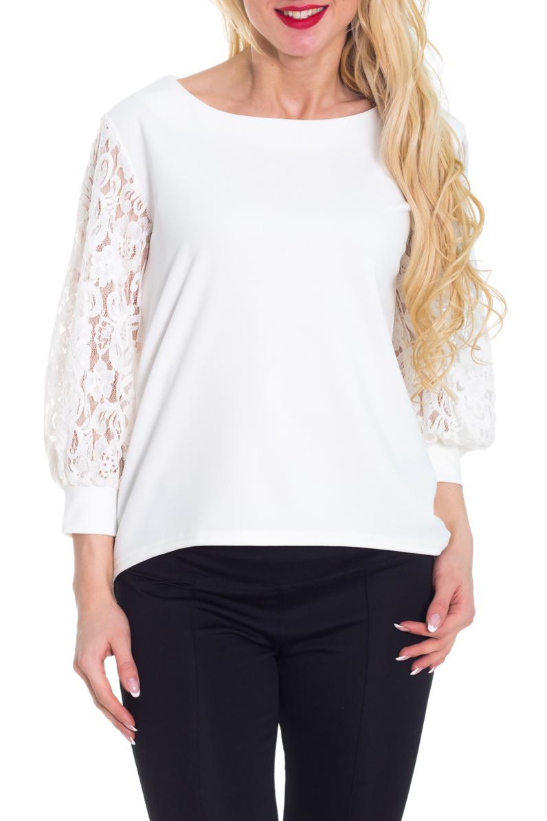 БлузкаБлузки<br>Белая блузка с рукавами 3/4. Модель выполнена из приятного материала с рукавами из гипюра. Отличный выбор для любого случая.  Цвет: белый  Рост девушки-фотомодели 170 см.<br><br>Горловина: С- горловина<br>По материалу: Блузочная ткань,Гипюр<br>По рисунку: Однотонные<br>По сезону: Весна,Всесезон,Зима,Лето,Осень<br>По силуэту: Свободные<br>По стилю: Нарядный стиль,Повседневный стиль,Романтический стиль<br>По элементам: С манжетами<br>Рукав: Рукав три четверти<br>Размер : 40-42<br>Материал: Блузочная ткань + Гипюр<br>Количество в наличии: 1