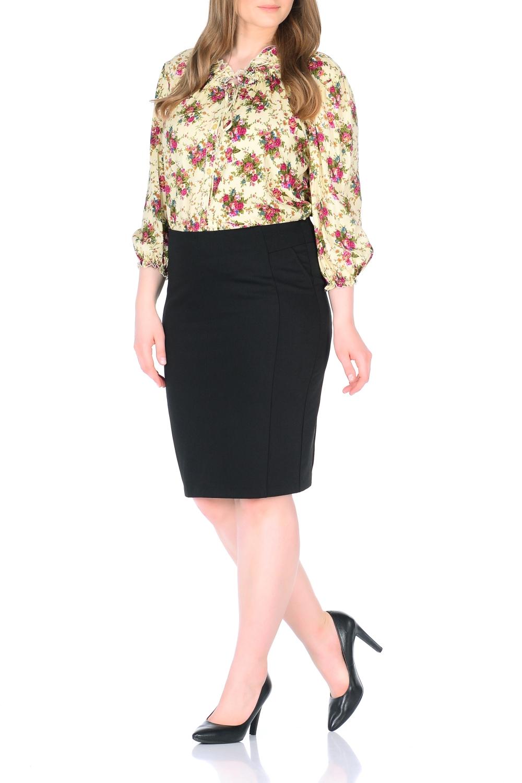 БлузкаБлузки<br>Женственная блузка с цветочным принтом. Модель выполнена из приятного материала. Отличный выбор для любого случая.   В изделии использованы цвета: желтый, розовый, зеленый и др.  Ростовка изделия 170 см.<br><br>Материал: Блузочная ткань,Вискоза<br>Рисунок: Растительные мотивы,С принтом,Цветные,Цветочные<br>Рукав: Рукав три четверти<br>Сезон: Весна,Зима,Лето,Осень,Всесезон<br>Силуэт: Свободные<br>Стиль: Повседневный стиль<br>Элементы: С воланами и рюшами,С манжетами<br>Размер : 48,50,52,54,56,58<br>Материал: Блузочная ткань<br>Количество в наличии: 12