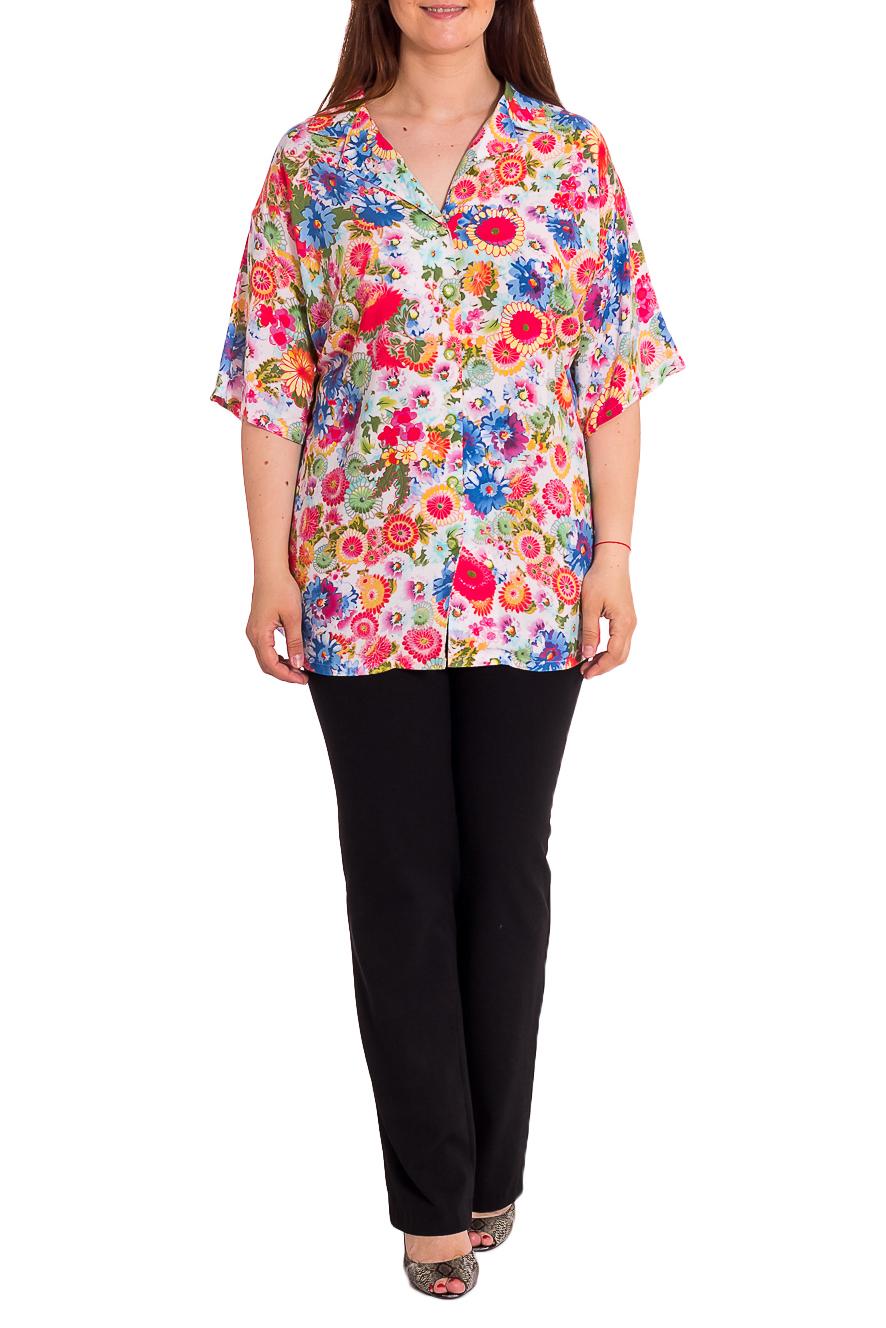 БлузкаБлузки<br>Яркая блузка с цветочным принтом. Модель выполнена из мягкой вискозы. Отличный выбор для любого случая.В изделии использованы цвета: белый, розовый, голубой и др.Рост девушки-фотомодели 180 см<br><br>Воротник: Отложной<br>Горловина: V- горловина<br>Рукав: До локтя<br>Материал: Вискоза,Тканевые<br>Рисунок: Растительные мотивы,С принтом,Цветные,Цветочные<br>Сезон: Лето<br>Силуэт: Прямые,Свободные<br>Стиль: Летний стиль,Повседневный стиль<br>Размер : 70,72,74<br>Материал: Штапель<br>Количество в наличии: 5
