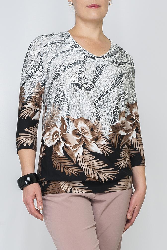 БлузкаБлузки<br>Трикотажная блузка, свободного силуэта, нежная расцветка ткани подойдет для любой обстановки и впишется в Ваш гардероб, будет сочетаться как с юбкой так и с брюками, пояс по низу изделия придает особую изящность.   Параметры изделия:  48 размер: длина изделия по спинке - 65см, ширина - 54см, длина рукава - 44см; 54 размер: длина изделия по спинке - 69см, ширина - 61см, длина рукава - 46см.  Цвет: белый, серый, черный, бежевый  Рост девушки-фотомодели 175 см<br><br>По образу: Город,Свидание<br>По стилю: Повседневный стиль<br>По материалу: Вискоза,Трикотаж<br>По рисунку: Растительные мотивы,С принтом,Цветные,Цветочные<br>По сезону: Зима,Лето,Всесезон,Осень,Весна<br>По силуэту: Свободные<br>Рукав: Рукав три четверти<br>Горловина: V- горловина<br>Размер: 48,50,52,54,56,58,60,62<br>Материал: 97% вискоза 3% эластан<br>Количество в наличии: 5