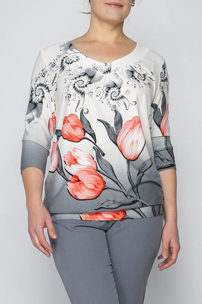 БлузкаБлузки<br>Трикотажная блузка, свободного силуэта, нежная расцветка ткани подойдет для любой обстановки и впишется в Ваш гардероб, будет сочетаться как с юбкой так и с брюками, пояс по низу изделия придает особую изящность.   Параметры изделия:  48 размер: длина изделия по спинке - 65см, ширина - 54см, длина рукава - 44см; 54 размер: длина изделия по спинке - 69см, ширина - 61см, длина рукава - 46см.  Цвет: белый, серый, коралловый  Рост девушки-фотомодели 175 см<br><br>Горловина: V- горловина<br>По материалу: Вискоза,Трикотаж<br>По образу: Город,Свидание<br>По рисунку: Растительные мотивы,С принтом,Цветные,Цветочные<br>По сезону: Весна,Зима,Лето,Осень,Всесезон<br>По силуэту: Свободные<br>По стилю: Повседневный стиль<br>Рукав: Рукав три четверти<br>Размер : 48,50,52,54,56,58,60,62<br>Материал: Трикотаж<br>Количество в наличии: 4