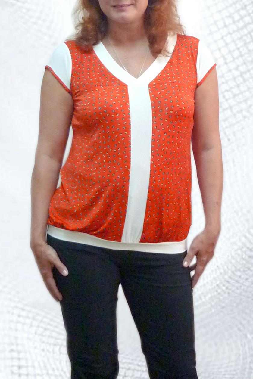 БлузкаБлузки<br>Женская блузка с V-образным вырезом и коротким рукавом. Отличный вариант для повседневного гардероба.<br><br>Горловина: V- горловина<br>По материалу: Вискоза,Трикотаж<br>По рисунку: Цветные<br>По силуэту: Полуприталенные<br>Рукав: Короткий рукав<br>По сезону: Весна,Лето,Зима,Осень,Всесезон<br>По стилю: Повседневный стиль<br>Размер : 44,46,48,50,52,54<br>Материал: Холодное масло<br>Количество в наличии: 6