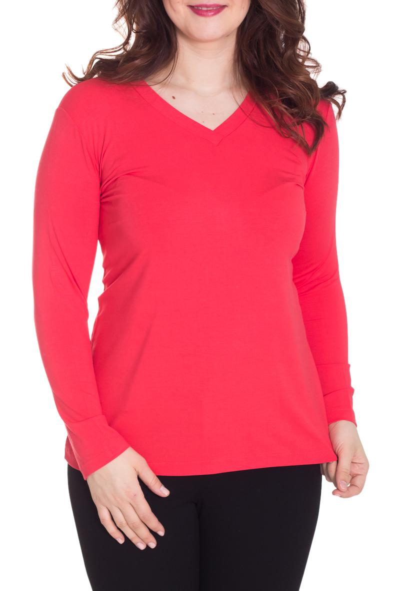 ПуловерДжемперы<br>Однотонный пуловер с длинными рукавами. Отличный выбор для базового гардероба.  Цвет: коралловый  Рост девушки-фотомодели 180 см.<br><br>Горловина: V- горловина<br>По материалу: Вискоза,Трикотаж<br>По образу: Город,Свидание<br>По рисунку: Однотонные<br>По силуэту: Полуприталенные<br>По стилю: Повседневный стиль<br>Рукав: Длинный рукав<br>По сезону: Осень,Весна<br>Размер : 50,52,54,58<br>Материал: Вискоза<br>Количество в наличии: 4