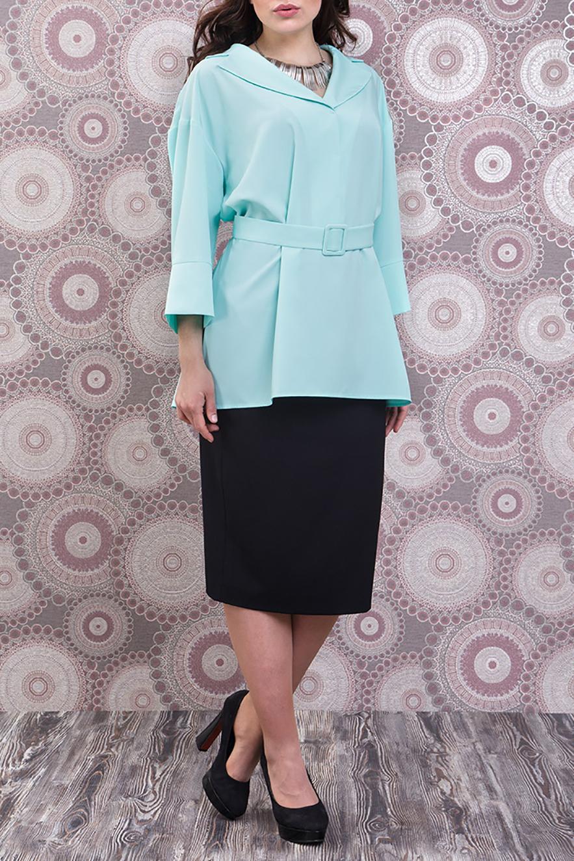 БлузкаБлузки<br>Удлиненная блузка свободного силуэта с небольшим шлейфом и рукавами 3/4. Модель выполнена из приятного материала. Отличный выбор для любого случая. Блузка без пояса.  Цвет: мятный  Ростовка изделия 170 см.<br><br>Воротник: Отложной<br>По материалу: Тканевые<br>По рисунку: Однотонные<br>По сезону: Весна,Зима,Лето,Осень,Всесезон<br>По силуэту: Полуприталенные<br>По стилю: Офисный стиль,Повседневный стиль<br>Рукав: Рукав три четверти<br>Размер : 48,50,52<br>Материал: Блузочная ткань<br>Количество в наличии: 3