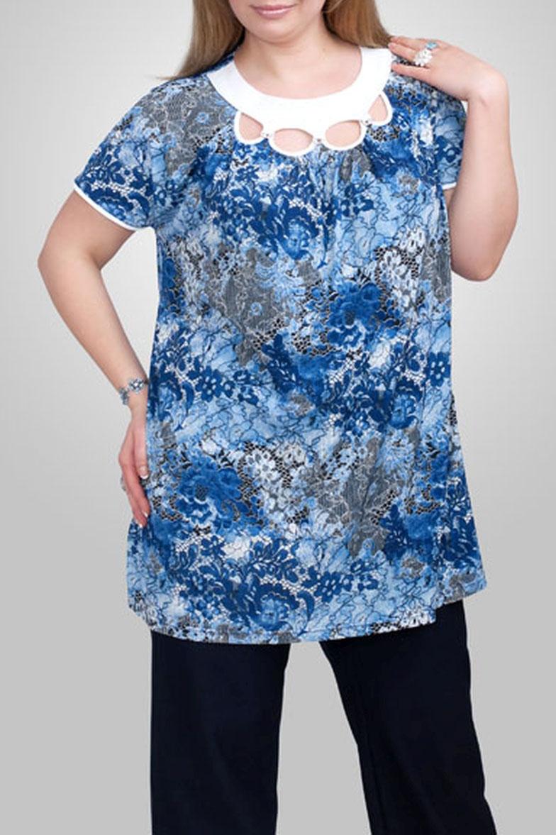 ТуникаТуники<br>Прекрасная женская туника с декоративными вырезами у горловины. Модель выполнена из плотного трикотажа. Отличный выбор для повседневного гардероба.  Цвет: голубой, белый  Рост девушки-фотомодели 173 см.<br><br>Горловина: С- горловина<br>По материалу: Вискоза,Трикотаж<br>По рисунку: Абстракция,Цветные,С принтом<br>По силуэту: Прямые<br>По стилю: Повседневный стиль<br>Рукав: Короткий рукав<br>По сезону: Лето<br>По элементам: С декором<br>Размер : 60<br>Материал: Трикотаж<br>Количество в наличии: 1
