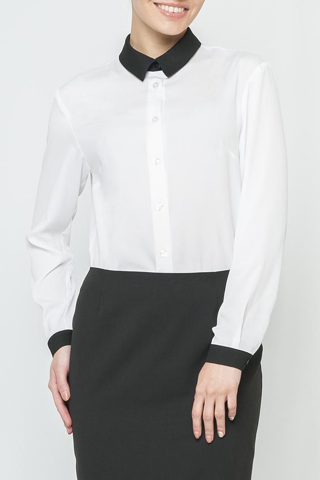 РубашкаРубашки<br>Классическая женская блузка с контрастными манжетами и воротничком. Модель выполнена из воздушного шифона. Отличный выбор для любого случая.  Цвет: белый, черный  Параметры изделия: 44 размер: обхват по линии груди - 104 см, обхват по линии бедер - 106 см, длина изделия - 70 см;  54 размер: обхват по линии груди - 126 см, обхват по линии бедер - 128 см, длина изделия - 73 см.  Рост девушки-фотомодели 170 см<br><br>Воротник: Рубашечный<br>Застежка: С пуговицами<br>По материалу: Шифон<br>По сезону: Весна,Всесезон,Зима,Лето,Осень<br>По силуэту: Полуприталенные<br>По стилю: Офисный стиль,Повседневный стиль<br>По элементам: С манжетами<br>Рукав: Длинный рукав<br>По рисунку: Цветные<br>Размер : 50,56<br>Материал: Шифон<br>Количество в наличии: 2