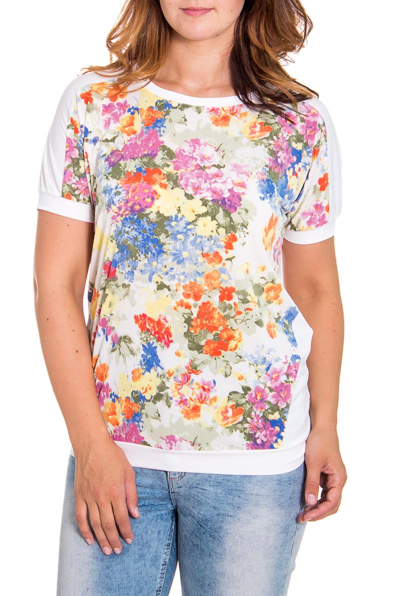 БлузкаБлузки<br>Очаровательная женская блузка с круглой горловиной и короткими рукавами. Модель выполнена из приятного материала. Отличный выбор для повседневного гардероба.  Цвет: белый, розовый, оранжевый, зеленый, желтый  Рост девушки-фотомодели 180 см<br><br>Горловина: С- горловина<br>По материалу: Вискоза,Трикотаж<br>По рисунку: Растительные мотивы,Цветные,Цветочные,С принтом<br>По сезону: Весна,Всесезон,Зима,Лето,Осень<br>По силуэту: Полуприталенные<br>Рукав: Короткий рукав<br>По стилю: Повседневный стиль<br>Размер : 46,48,50,54,56<br>Материал: Холодное масло<br>Количество в наличии: 5