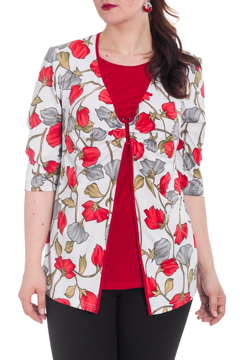 ТуникаТуники<br>Яркая туника с имитацией кардигана и рукавами 3/4. Модель выполнена из приятного трикотажа. Отличный выбор для любого случая.   Цвет: красный, белый, серый, бежевый  Рост девушки-фотомодели 180 см.<br><br>Горловина: С- горловина<br>По материалу: Вискоза,Трикотаж<br>По рисунку: Растительные мотивы,С принтом,Цветные,Цветочные<br>По силуэту: Полуприталенные<br>По стилю: Повседневный стиль<br>Рукав: Рукав три четверти<br>По сезону: Осень,Весна<br>Размер : 58,60,62,64<br>Материал: Холодное масло<br>Количество в наличии: 6