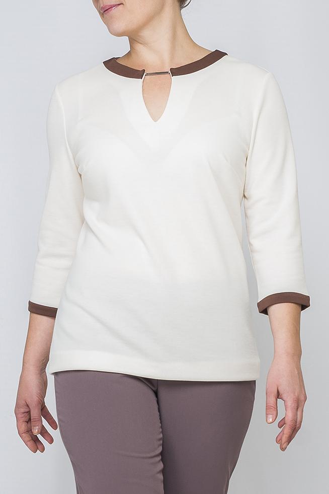 ДжемперДжемперы<br>Женский джемпер из трикотажа прямого силуэта. Однотонная и спокойная расцветка добавит в Ваш образ нежности. Идеально будет сочетаться с брюками, джинсами, как в классическом, так и в свободном стиле. Подойдет для офиса и для повседневного гардероба.   Параметры изделия:  46 размер: обхват груди - 98 см, обхват бедер - 102 см, длина рукава - 41,5 см, длина изделия - 64,5 см; 52 размер: обхват груди - 110 см, обхват бедер - 115 см, длина рукава - 42,5 см, длина изделия - 66 см.  Цвет: молочный, коричневый  Рост девушки-фотомодели 170 см<br><br>Горловина: С- горловина<br>По материалу: Трикотаж<br>По рисунку: Однотонные<br>По силуэту: Прямые<br>По стилю: Повседневный стиль<br>По элементам: С декором<br>Рукав: Рукав три четверти<br>По сезону: Осень,Весна<br>Размер : 46,48,50,52,56,58<br>Материал: Джерси<br>Количество в наличии: 8