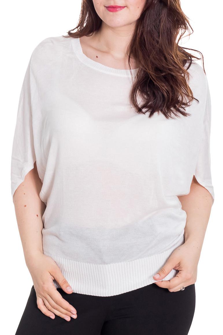 БлузкаБлузки<br>Великолепная блузка свободного силуэта. Модель выполнена из мягкой вискозы. Отличный выбор для повседневного гардероба.  Цвет: белый  Рост девушки-фотомодели 180 см<br><br>Горловина: С- горловина<br>По материалу: Вискоза,Трикотаж<br>По рисунку: Однотонные<br>По сезону: Весна,Зима,Лето,Осень,Всесезон<br>По силуэту: Свободные<br>По стилю: Повседневный стиль<br>Рукав: До локтя<br>Размер : 52-54<br>Материал: Трикотаж<br>Количество в наличии: 1
