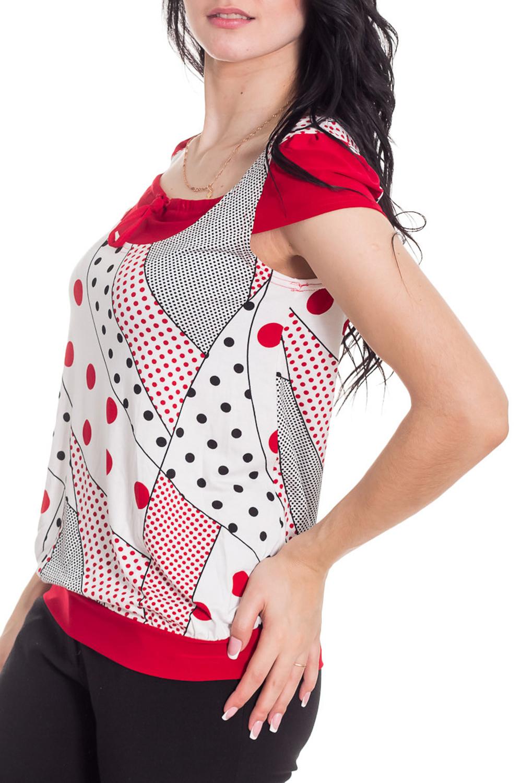 ФутболкаФутболки<br>Женская футболка с круглой горловиной и короткими рукавами. Модель выполнена из мягкой вискозы. Отличный выбор для повседневного гардероба.  Цвет: белый, красный, черный  Рост девушки-фотомодели 170 см<br><br>Горловина: С- горловина<br>По длине: Удлиненные<br>По материалу: Вискоза<br>По рисунку: Абстракция,Цветные,С принтом<br>По сезону: Весна,Зима,Лето,Осень,Всесезон<br>По силуэту: Полуприталенные<br>Рукав: Короткий рукав<br>Размер : 44<br>Материал: Вискоза<br>Количество в наличии: 1