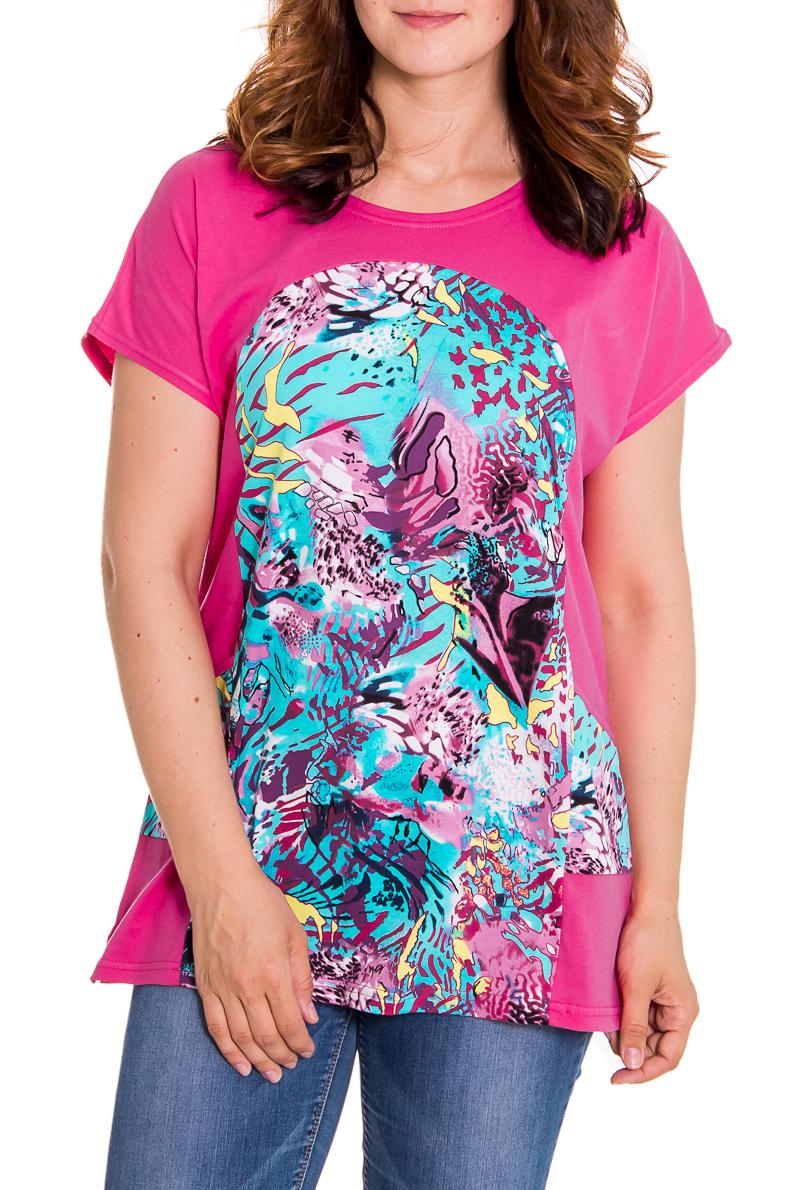 БлузкаБлузки<br>Женская блузка свободного силуэта. Модель выполнена из натурального хлопка. Отличный выбор для повседневного гардероба.  Цвет: розовый, голубой  Рост девушки-фотомодели 180 см<br><br>Горловина: С- горловина<br>По образу: Город,Свидание<br>По рисунку: Абстракция,Цветные,С принтом<br>По сезону: Весна,Всесезон,Зима,Лето,Осень<br>По силуэту: Свободные<br>Рукав: Короткий рукав<br>По материалу: Хлопок<br>По стилю: Повседневный стиль<br>Размер : 48,50<br>Материал: Хлопок<br>Количество в наличии: 2
