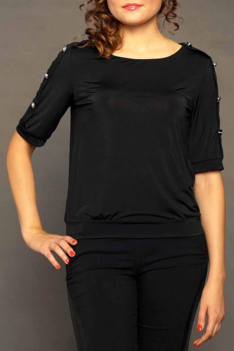 БлузкаБлузки<br>Классическая женская блузка из приятного к телу трикотажа станет основой Вашего повседневного гардероба.  Цвет: черный.<br><br>Горловина: С- горловина<br>По материалу: Гипюровая сетка,Трикотаж<br>По рисунку: Однотонные<br>По сезону: Весна,Зима,Лето,Осень,Всесезон<br>По силуэту: Полуприталенные<br>По стилю: Классический стиль,Кэжуал,Офисный стиль,Повседневный стиль<br>По элементам: С манжетами,С отделочной фурнитурой<br>Рукав: До локтя<br>Размер : 40-42,44-46,48-50<br>Материал: Холодное масло<br>Количество в наличии: 10