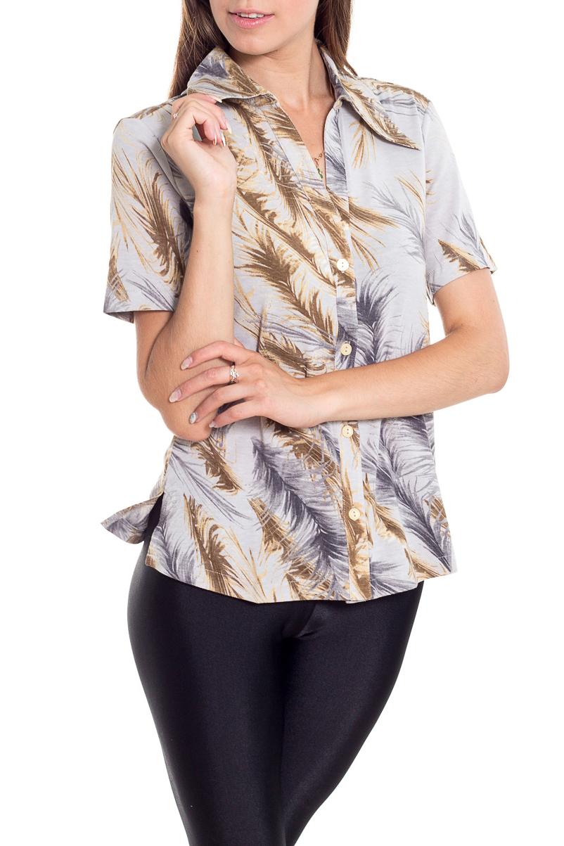 БлузкаБлузки<br>Цветная блузка с короткими рукавами. Модель выполнена из приятного материала. Отличный выбор для повседневного гардероба.  В изделии использованы цвета: серый, бежевый и др.  Рост девушки-фотомодели 170 см.<br><br>Воротник: Отложной<br>Горловина: V- горловина<br>Застежка: С пуговицами<br>По материалу: Вискоза<br>По образу: Город<br>По рисунку: С принтом,Цветные<br>По сезону: Весна,Зима,Лето,Осень,Всесезон<br>По силуэту: Прямые<br>По стилю: Повседневный стиль<br>Рукав: Короткий рукав<br>Размер : 44<br>Материал: Вискоза<br>Количество в наличии: 1