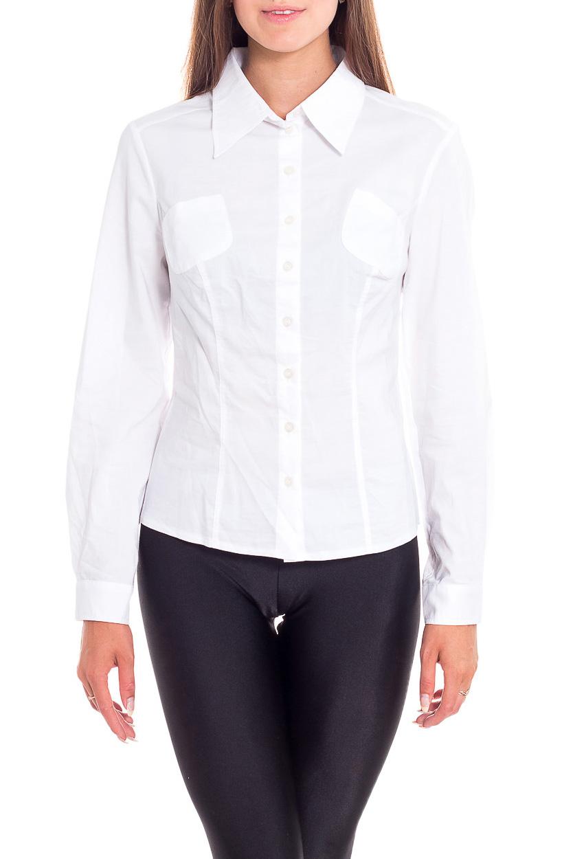 БлузкаРубашки<br>Универсальная белая блузка с длинными рукавами. Модель выполнена из приятного материала. Отличный выбор для любого случая.  Цвет: белый  Рост девушки-фотомодели 170 см<br><br>Воротник: Рубашечный<br>Застежка: С пуговицами<br>По материалу: Тканевые<br>По образу: Офис<br>По рисунку: Однотонные<br>По сезону: Весна,Зима,Лето,Осень,Всесезон<br>По силуэту: Приталенные<br>По стилю: Офисный стиль,Повседневный стиль<br>По элементам: С карманами,С манжетами<br>Рукав: Длинный рукав<br>Размер : 42,44,46<br>Материал: Блузочная ткань<br>Количество в наличии: 3