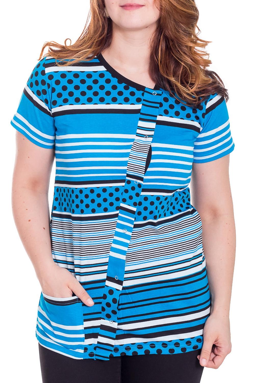 ТуникаТуники<br>Домашняя туника с короткими рукавами. Домашняя одежда, прежде всего, должна быть удобной, практичной и красивой. В тунике Вы будете чувствовать себя комфортно, особенно, по вечерам после трудового дня.  Цвет: голубой, черный, белый  Рост девушки-фотомодели 180 см.<br><br>По рисунку: В горошек,В полоску,Цветные,С принтом<br>По сезону: Весна,Осень<br>По силуэту: Полуприталенные<br>Рукав: Короткий рукав<br>По материалу: Трикотаж,Хлопок<br>Размер : 48<br>Материал: Хлопок<br>Количество в наличии: 2