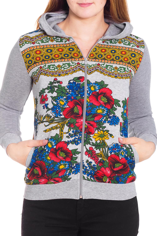 КофтаСпортивная одежда<br>Спортивная кофта из плотного трикотажа. Отличный выбор для активного отдыха или занятий спортом.  Цвет: серый, мультицвет  Рост девушки-фотомодели 180 см<br><br>Застежка: С молнией<br>По материалу: Трикотаж,Хлопок<br>По рисунку: Растительные мотивы,Цветные,Цветочные,С принтом<br>По сезону: Весна,Осень<br>По силуэту: Полуприталенные<br>По стилю: Повседневный стиль,Спортивный стиль<br>По элементам: С капюшоном,С карманами,С манжетами<br>Рукав: Длинный рукав<br>По длине: До колена<br>Размер : 44<br>Материал: Трикотаж<br>Количество в наличии: 1