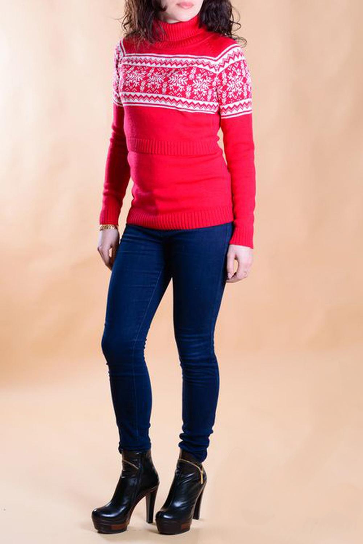 СвитерКофты для будущих мам<br>Классический свитер для кормящих мам кроя реглан. Декорирован жаккардовым рисунком Снежинки.  В изделии использованы цвета: красный, белый  Ростовка изделия 170 см.<br><br>Воротник: Стойка<br>По материалу: Вязаные,Трикотаж,Шерсть<br>По образу: Город<br>По рисунку: С принтом,Цветные<br>По сезону: Зима,Осень,Весна<br>По силуэту: Приталенные<br>По стилю: Повседневный стиль<br>По форме: Свитеры<br>Рукав: Длинный рукав<br>Размер : 44,46,48<br>Материал: Вязаное полотно<br>Количество в наличии: 3