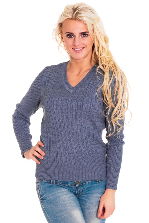 ПуловерДжемперы<br>Теплый пуловер с длинными рукавами из вязанного трикотажа. Вязаный трикотаж - это красота, тепло и комфорт. В вязаных вещах очень легко оставаться женственной и в то же время не замёрзнуть.  Цвет: синий  Рост девушки-фотомодели 170 см<br><br>Горловина: V- горловина<br>По материалу: Вязаные,Трикотаж<br>По образу: Город,Свидание<br>По рисунку: Однотонные<br>По силуэту: Полуприталенные<br>По стилю: Повседневный стиль<br>Рукав: Длинный рукав<br>По сезону: Зима<br>Размер : 44,48,52<br>Материал: Вязаное полотно<br>Количество в наличии: 3