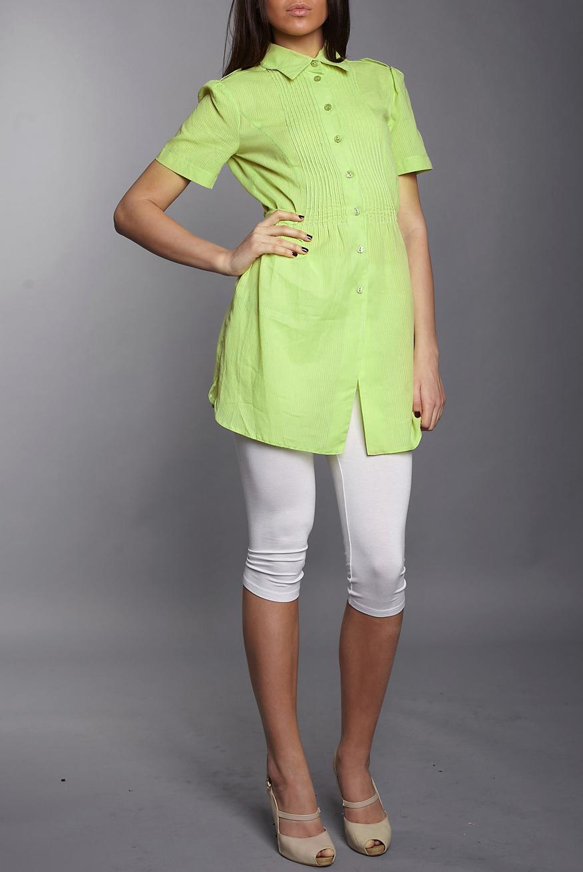 ТуникаТуники<br>Красивая женская туника с короткими рукавами и рубашечным воротником. Модель выполнена из приятного материала. Отличный выбор для повседневного и делового гардероба.  Цвет: салатовый<br><br>Воротник: Рубашечный<br>По материалу: Тканевые<br>По рисунку: Однотонные<br>По силуэту: Полуприталенные<br>По стилю: Офисный стиль,Повседневный стиль<br>Рукав: Короткий рукав<br>По сезону: Лето<br>Размер : 54<br>Материал: Блузочная ткань<br>Количество в наличии: 1