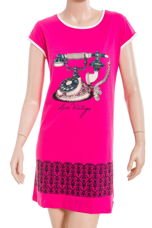 ТуникаТуники<br>Домашняя туника с короткими рукавами. Домашняя одежда, прежде всего, должна быть удобной, практичной и красивой. В тунике Вы будете чувствовать себя комфортно, особенно, по вечерам после трудового дня.  В изделии использованы цвета: розовый, черный, белый и др.  Ростовка изделия 170 см.<br><br>Горловина: С- горловина<br>По длине: Удлиненные<br>По материалу: Хлопковые<br>По рисунку: С принтом (печатью),Цветные<br>По сезону: Весна,Зима,Лето,Осень,Всесезон<br>По силуэту: Полуприталенные<br>По стилю: Повседневные<br>Рукав: Короткий рукав<br>Размер : 50,52<br>Материал: Хлопок<br>Количество в наличии: 1