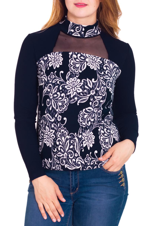 БлузкаБлузки<br>Красивая блузка со вставкой из гипюровой сетки на груди. Модель выполнена из приятного трикотажа. Отличный выбор для любого случая.  Цвет: синий, белый  Рост девушки-фотомодели 180 см<br><br>Воротник: Стойка<br>По материалу: Гипюровая сетка,Трикотаж,Вискоза<br>По образу: Город,Свидание<br>По рисунку: Цветные,С принтом<br>По сезону: Весна,Всесезон,Зима,Лето,Осень<br>По стилю: Повседневный стиль<br>Рукав: Длинный рукав<br>По силуэту: Приталенные<br>Размер : 48,50<br>Материал: Трикотаж + Гипюровая сетка<br>Количество в наличии: 4