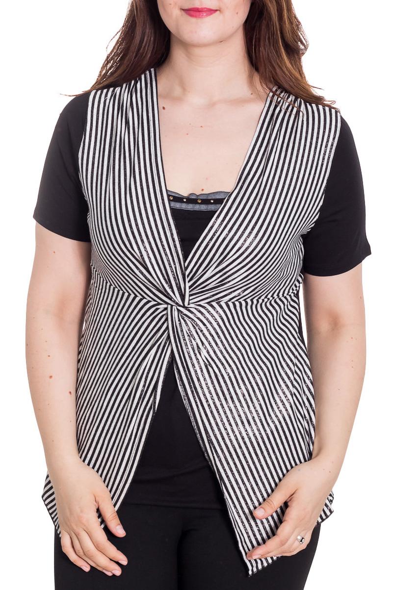 БлузкаБлузки<br>Интересная блузка с имитацией жилета. Модель выполнена из мягкой вискозы. Отличный выбор для повседневного гардероба.  Цвет: черный, белый  Рост девушки-фотомодели 180 см<br><br>По материалу: Вискоза,Трикотаж<br>По рисунку: В полоску,С принтом,Цветные<br>По сезону: Весна,Зима,Лето,Осень,Всесезон<br>По силуэту: Полуприталенные<br>По стилю: Повседневный стиль<br>Рукав: Короткий рукав<br>Размер : 52<br>Материал: Холодное масло<br>Количество в наличии: 1