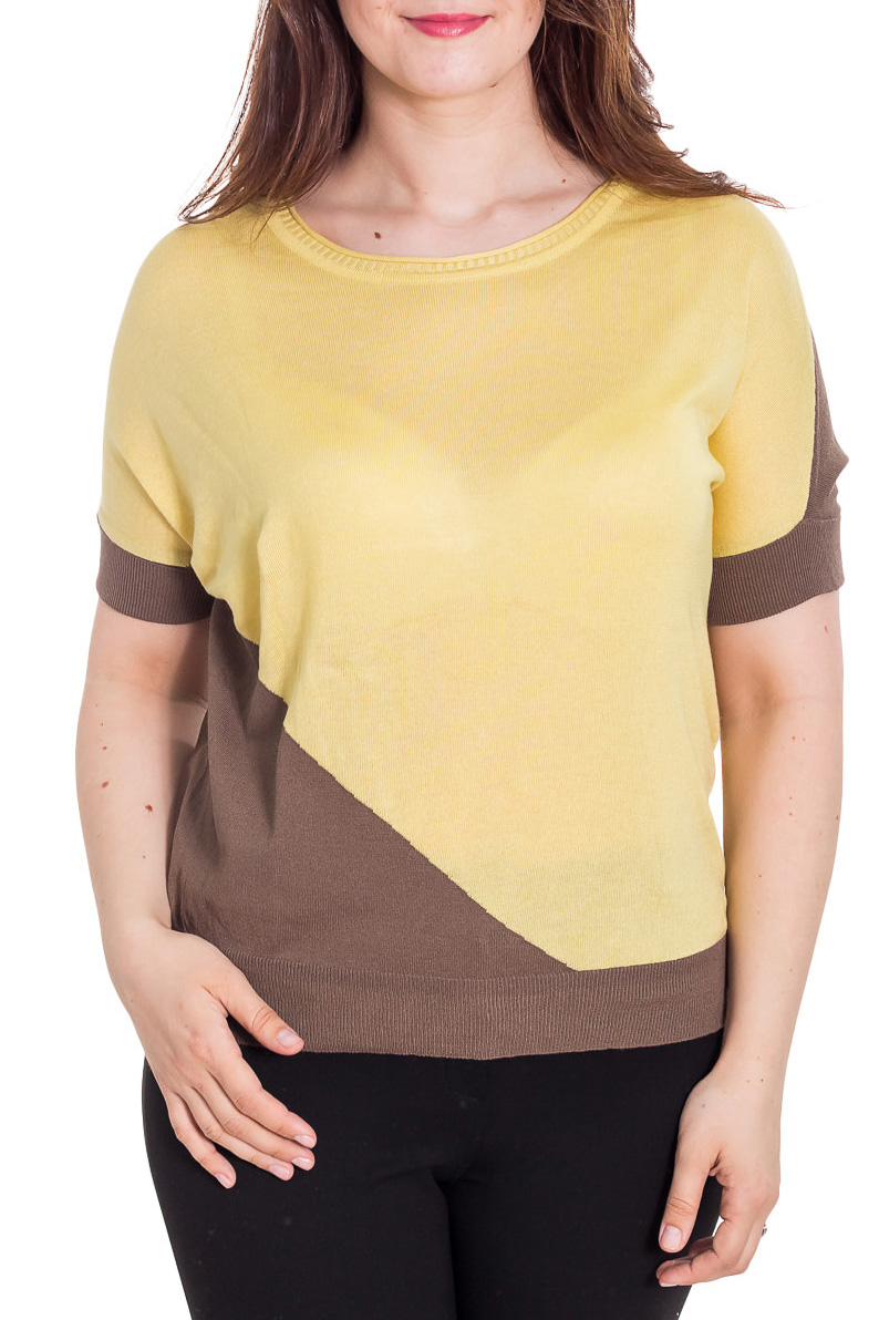 БлузкаБлузки<br>Великолепная блузка свободного силуэта. Модель выполнена из мягкой вискозы. Отличный выбор для повседневного гардероба.  Цвет: желтый, коричневый  Рост девушки-фотомодели 180 см<br><br>Горловина: С- горловина<br>По материалу: Вискоза,Трикотаж<br>По рисунку: Цветные<br>По сезону: Весна,Зима,Лето,Осень,Всесезон<br>По силуэту: Свободные<br>По стилю: Повседневный стиль<br>Рукав: До локтя<br>Размер : 48-50,52-54<br>Материал: Трикотаж<br>Количество в наличии: 3