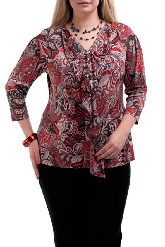 БлузкаБлузки<br>Элегантная блузка с рукавами 3/4 и декоративными воланами. Модель выполнена из приятного трикотажа. Отличный выбор для повседневного гардероба.  Цвет: красный, коричневый, бежевый, белый  Рост девушки-фотомодели 173 см.<br><br>По образу: Город,Свидание<br>По стилю: Повседневный стиль<br>По материалу: Трикотаж<br>По рисунку: Этнические,С принтом,Цветные<br>По сезону: Осень,Весна,Всесезон,Зима,Лето<br>По силуэту: Приталенные<br>По элементам: С воланами и рюшами<br>Рукав: Рукав три четверти<br>Горловина: V- горловина<br>Размер: 58,60,62,64,66,68,70,52<br>Материал: 90% полиэстер 10% эластан<br>Количество в наличии: 7
