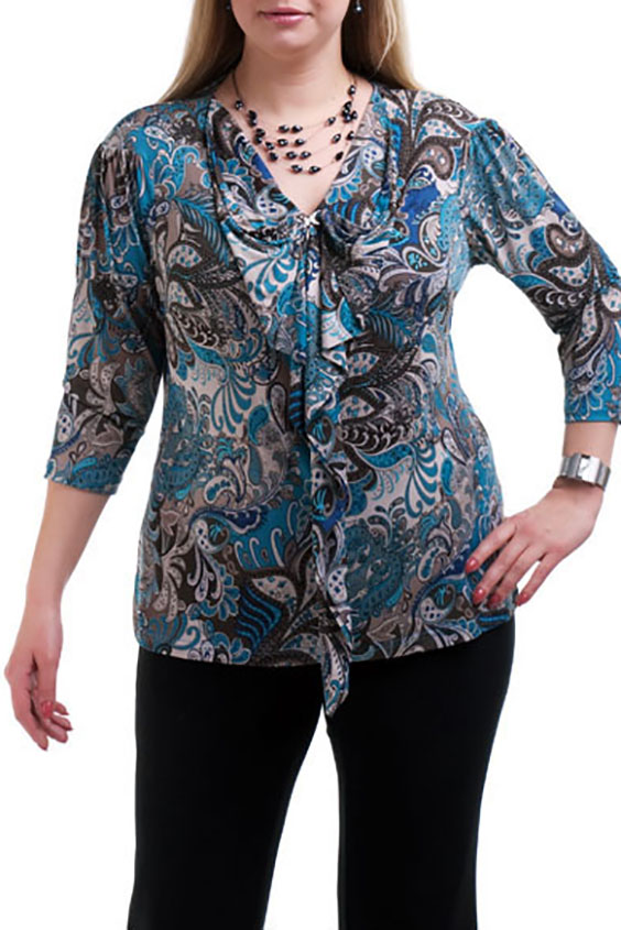 БлузкаБлузки<br>Элегантная блузка с рукавами 3/4 и декоративными воланами. Модель выполнена из приятного трикотажа. Отличный выбор для повседневного гардероба.  Цвет: голубой, серый, белый  Рост девушки-фотомодели 173 см.<br><br>По образу: Город,Свидание<br>По стилю: Повседневный стиль<br>По материалу: Трикотаж<br>По рисунку: Цветные,Этнические,С принтом<br>По сезону: Лето,Осень,Весна,Всесезон,Зима<br>По силуэту: Приталенные<br>По элементам: С воланами и рюшами<br>Рукав: Рукав три четверти<br>Горловина: V- горловина<br>Размер: 56,58,64,66,68<br>Материал: 90% полиэстер 10% эластан<br>Количество в наличии: 6