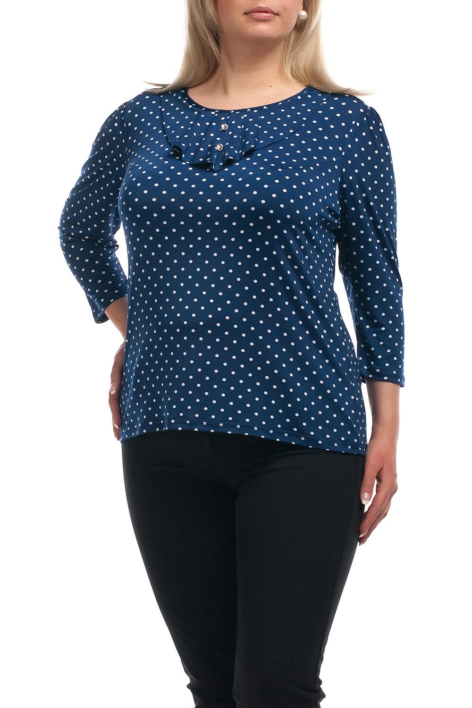 БлузкаБлузки<br>Восхитительная блузка с рукавами 3/4. Модель выполнена из приятного трикотажа. Отличный выбор для повседневного гардероба.  Цвет: синий, белый  Рост девушки-фотомодели 173 см.<br><br>Горловина: С- горловина<br>По материалу: Трикотаж<br>По образу: Город,Свидание<br>По рисунку: В горошек,С принтом,Цветные<br>По сезону: Весна,Всесезон,Зима,Лето,Осень<br>По силуэту: Полуприталенные<br>По стилю: Повседневный стиль<br>По элементам: С воланами и рюшами,С декором<br>Рукав: Рукав три четверти<br>Размер : 70<br>Материал: Холодное масло<br>Количество в наличии: 1