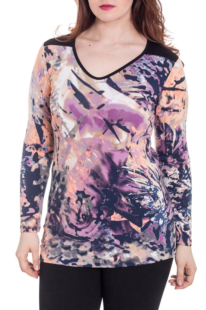 БлузкаБлузки<br>Цветная блузка с длинными рукавами. Модель выполнена из приятного трикотажа. Отличный выбор для повседневного гардероба.  Цвет: фиолетовый, сиреневый, розовый, персиковый  Рост девушки-фотомодели 180 см<br><br>Горловина: V- горловина<br>По материалу: Вискоза,Трикотаж<br>По рисунку: С принтом,Цветные<br>По сезону: Весна,Зима,Лето,Осень,Всесезон<br>По силуэту: Полуприталенные<br>По стилю: Повседневный стиль<br>Рукав: Длинный рукав<br>Размер : 46<br>Материал: Вискоза<br>Количество в наличии: 2