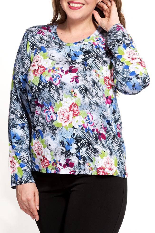 БлузкаДжемперы<br>Цветная блузка с длинными рукавами. Модель выполнена из мягкой вискозы. Отличный выбор для повседневного гардероба.   В изделии использованы цвета: голубой, серый, розовый, зеленый и др.  Ростовка изделия 170 см.<br><br>Горловина: С- горловина<br>По материалу: Вискоза<br>По рисунку: Растительные мотивы,С принтом,Цветные,Цветочные<br>По силуэту: Прямые<br>По стилю: Повседневный стиль<br>Рукав: Длинный рукав<br>По сезону: Осень,Весна<br>Размер : 56,58,60,62<br>Материал: Вискоза<br>Количество в наличии: 4