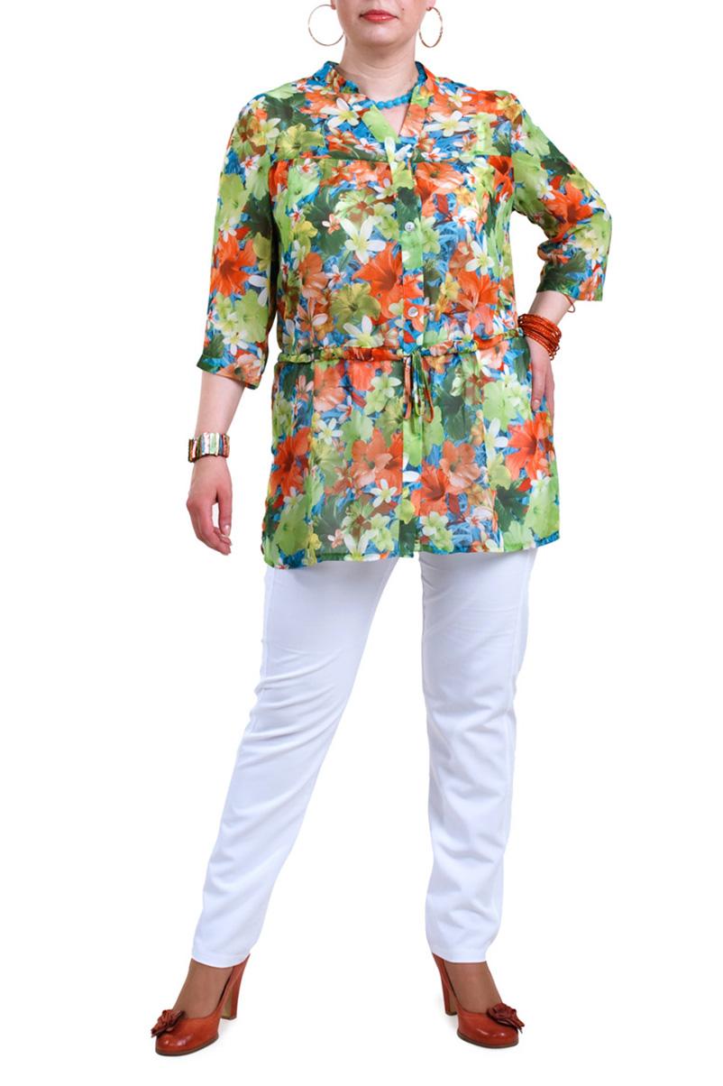 БлузкаБлузки<br>Яркая блузка прямого силуэта. Модель выполнена из воздушного шифона с цветочным принтом. Отличный выбор для любого случая.  Цвет: зеленый, оранжевый, белый, голубой  Рост девушки-фотомодели 173 см.<br><br>Горловина: V- горловина<br>По материалу: Шифон<br>По образу: Город,Свидание<br>По рисунку: Растительные мотивы,С принтом,Цветные,Цветочные<br>По сезону: Весна,Зима,Лето,Осень,Всесезон<br>По силуэту: Прямые<br>По стилю: Повседневный стиль<br>По элементам: С поясом<br>Рукав: Рукав три четверти<br>Размер : 56,58,60,62,64,66,68<br>Материал: Шифон<br>Количество в наличии: 1