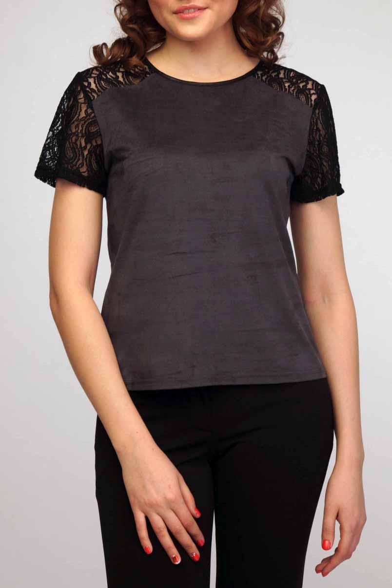 БлузкаБлузки<br>Классическая женская блузка из приятного к телу материала под quot;замшуquot; станет основой Вашего повседневного гардероба.  Цвет: серый, черный.<br><br>Горловина: С- горловина<br>По материалу: Гипюр,Замша<br>По сезону: Весна,Зима,Лето,Осень,Всесезон<br>По силуэту: Полуприталенные<br>По стилю: Повседневный стиль<br>По элементам: С декором<br>Рукав: Короткий рукав<br>По рисунку: Цветные<br>Размер : 42-44<br>Материал: Искусственная замша<br>Количество в наличии: 1