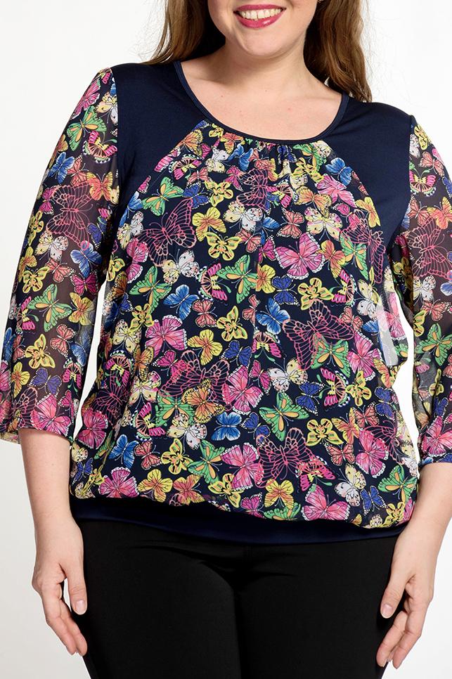 БлузкаБлузки<br>Цветная блузка с рукавами 3/4. Модель выполнена из приятных материалов. Отличный выбор для повседневного гардероба.   В изделии использованы цвета: синий, розовый, зеленый и др.  Ростовка изделия 170 см.<br><br>Горловина: С- горловина<br>По материалу: Вискоза,Трикотаж,Шифон<br>По рисунку: Бабочки,С принтом,Цветные<br>По сезону: Весна,Зима,Лето,Осень,Всесезон<br>По силуэту: Прямые<br>По стилю: Повседневный стиль<br>Рукав: Рукав три четверти<br>Размер : 54,56,58,60,62<br>Материал: Холодное масло + Шифон<br>Количество в наличии: 5