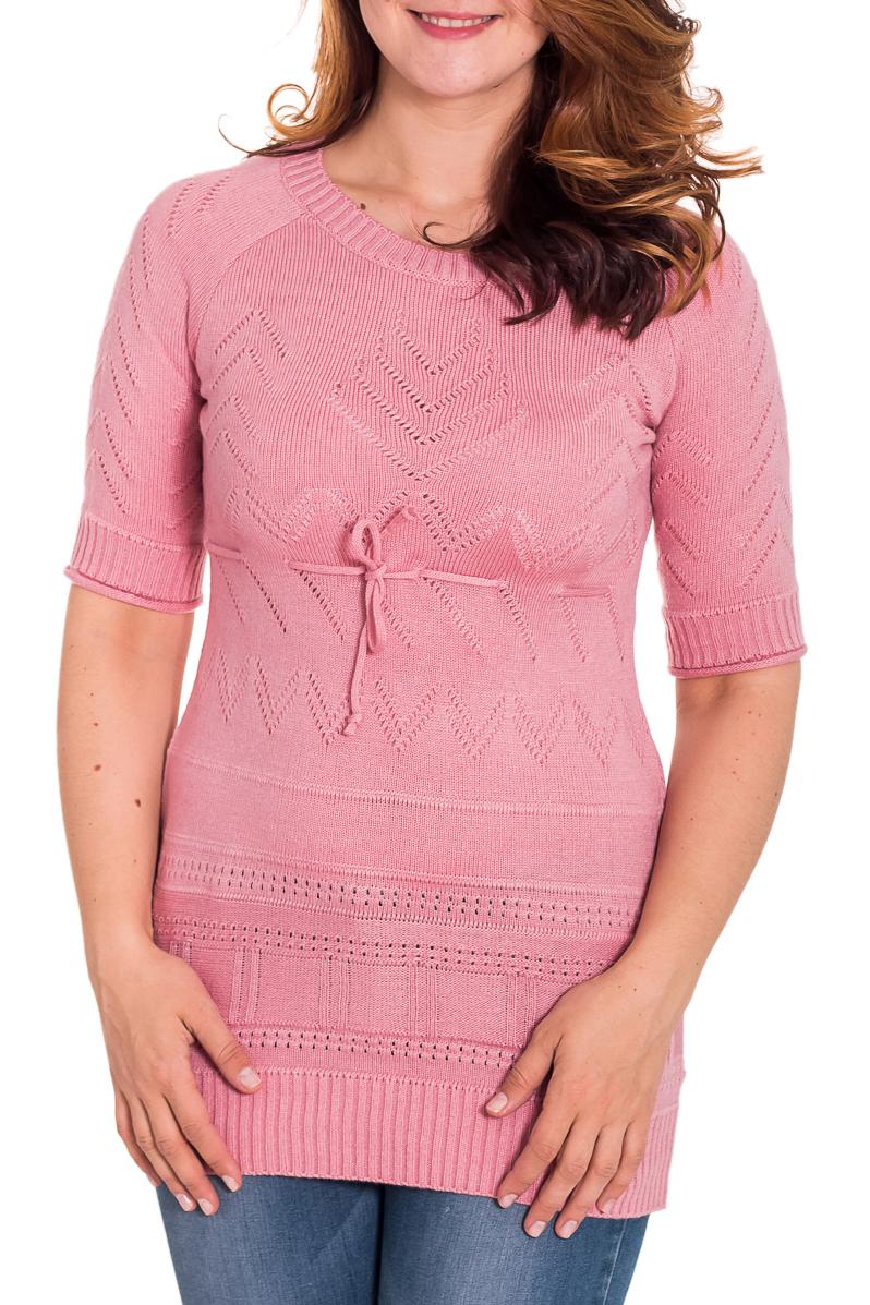 ДжемперДжемперы<br>Удлиненный женский джемпер с короткими рукавами. Вязаный трикотаж - это красота, тепло и комфорт. В вязаных вещах очень легко оставаться женственной и в то же время не замёрзнуть.  Цвет: розовый  Рост девушки-фотомодели 180 см<br><br>Горловина: С- горловина<br>По рисунку: Однотонные,Фактурный рисунок<br>По сезону: Весна,Осень<br>По стилю: Повседневный стиль,Романтический стиль<br>По силуэту: Приталенные<br>Рукав: До локтя<br>Размер : 44,46<br>Материал: Вязаное полотно<br>Количество в наличии: 4